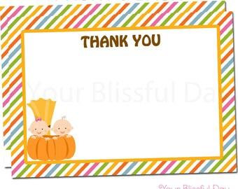 Little Pumpkin Baby Shower Thank You Cards   Pumpkin Baby Shower Stationery   Pumpkin Baby Shower Thank You Card #205