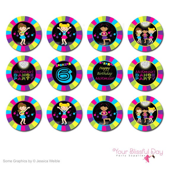 Girl Dance Party Circles   Girl Dance Party Cupcake Toppers   Girl Dance Stickers   PRINTABLE Girl Dance Party Circles #5003