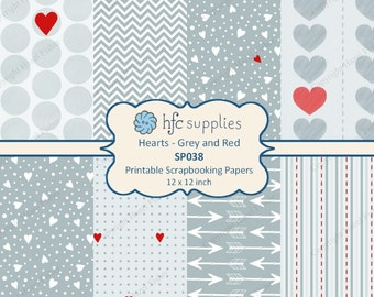 Hearts Grey and Red Patterned Scrapbook Papers, valentine, gray, arrows, printable paper set - Digital Instant Download SP038
