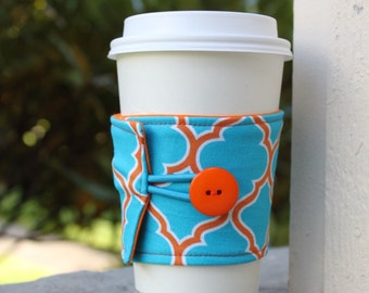 Fabric Coffee Sleeve - Reusable Cup Cozy - Bright Blue and Orange Geometric - Cotton Coffee Cuff - Coffee Shop Cup - Lattice