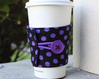 Black and Purple Polka Dots Coffee Sleeve by CK Stitches - Reusable Cup Wrap - Starbucks Cozy - Teacher Gift -Mothers Day -Small Xmas Gift
