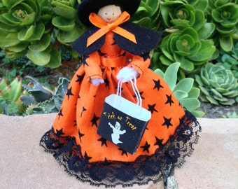 Halloween clothespin doll, witch's costume, orange and black trick-or-treat bag - ready to ship!