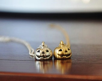 Jack O Lantern Necklace - Pumpkin Necklace/ Silver necklace/ Halloween Jewelry/ Halloween Charm Necklace/ Gold Pumpkin Charm Necklace