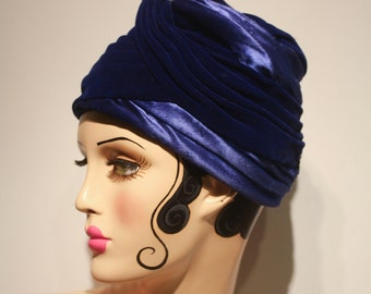 Blue Velvet and Satin Hat by Marché