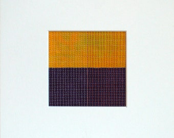 Grid Series, Grid #004, Original Modern Fiber Art, Small Modern Art Quilt for the wall, Yellow and Eggplant Geometric Art