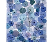 Constellation watercolor Blue dots - watercolor print connections watercolor art print circles connected