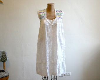 Embroidered Sleeveless Mexican Dress