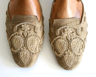 Golden Embroidered Slip Shoes