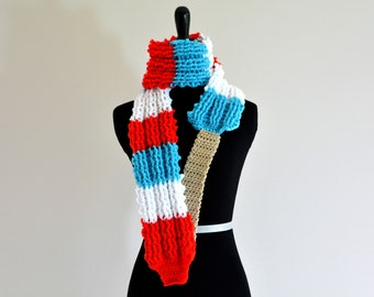 READY TO SHIP Rocket Popsicle Scarf, Red, White, and Blue Turbo Rocket Popsicle / Firecracker Pop / Bomb Pop, Great Summer Accessory
