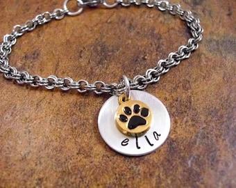 Gold Paw Print Jewelry, Personalized Jewelry, Paw Print Bracelet, Personalized Pet Bracelet, Hand Stamped Jewelry, Stainless Steel Chain