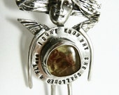 Angel Shae Swallowed A Fly - Up Cycled Sterling, Amber, And PMC - Echo Friendly - Women - Empowerment - Strength - Jewelry Pendant - 1233