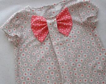 Girls Dress, Girls Clothing,Girls Bow Dress, Gray and pink, Girls School Dress, Girls Portrait Dress, Sizes 4 thru 8