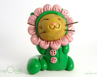 Flower Pajama Cat - Clay Cat Figurine with his Pink Flower Costume