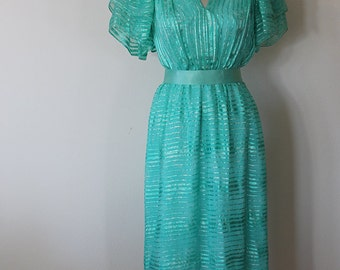 1980s Green Silk Chiffon Party Dress / Diane Dickinson Gentillesse