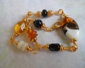 Beaded, Wire Wrapped Bracelet, 7.5 Inch Bracelet, Amber, White, Black, Stone and Glass, Gold Plated, Amber Chips, Lampwork Glass, Art Glass