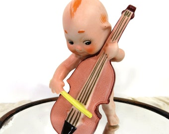 Vintage Kewpie Cello Player by Ardalt, Blue Winged Bisque Figurine #6490B, Upright Bass, Kewpie Band Member