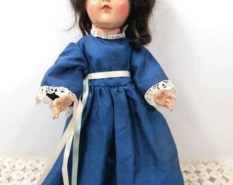 Vintage Toni Doll P-90 Ideal Doll - 1940s - Dark Brown Hair - Sleepy Eyes