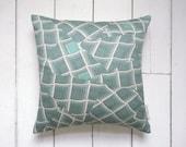 Vintage Japanese Kimono Silk Fabric Pillow Cushion in Aqua Blue 'Paper Waves'