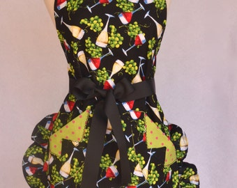 Ladies Apron, Red Wine, White Wine Print, Ruffled , With Pockets Lined with Polk a Dots