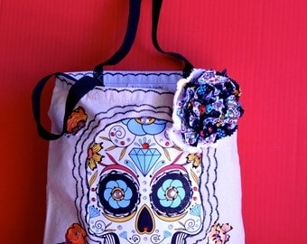 Sugar Skull Dia de los Muertos Canvas Tote Bag with Appliqué