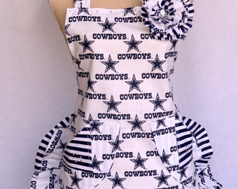 Womens Apron, Cowboys Football Print, Shorty Style, Double Ruffled Apron, With Shabby Floral  Pin