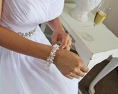 Swarovski crystal & pearl wedding bracelet, crystal beaded bracelet, bridal braclets, sterling silver wedding braclets. JESSICA Lge.