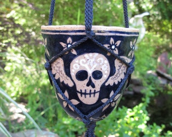Winged Skull Hanging Planter