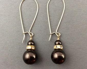 Pearl Earrings In Gold With Brown Pearls Pearls And Crystal Roundelles
