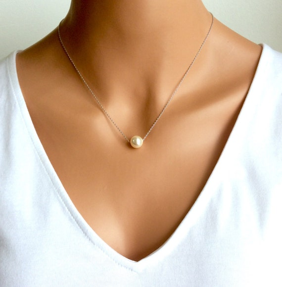 Floating Pearl Necklace In Silver Chain With 10MM Cream Swarovski Crystal Pearl 17 Inches