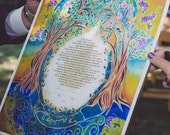 Custom Ketubah - Ketubbah - Ketubahs - Personalized Ketubah - Jewish Judaica Art - print - Jewish Wedding - Wedding Vows - Blessings #2