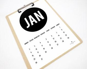 Printable Calendar 2017 Circle and Letters, Monthly Calendar, 2017 Planner, Organizer, Hipster, Wall Calendar, Minimal Planner, PDF