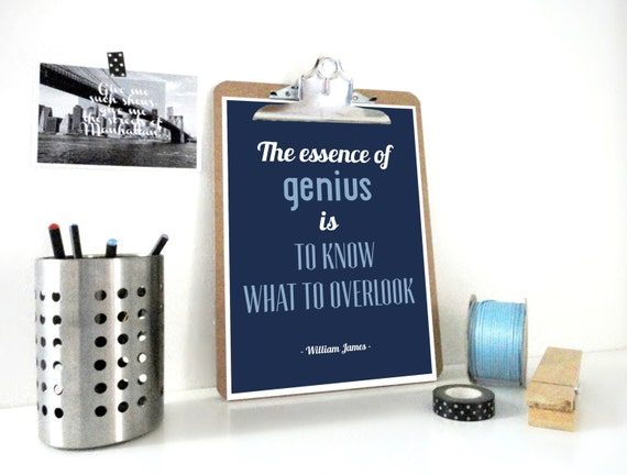Typography Quote Print The Essence of Genious in Blue Archival A4 Art Print