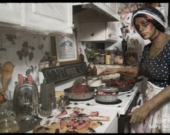 8x10 Signed Archival Print Zombie Girl Mom Home Cookin Cooking Severed Fingers Mutilated Chunks Flesh Gore Halloween Macabre Wall Art Decor