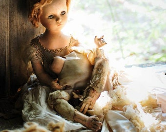 8x10 Signed Archival Photographic Print of a Sad Doll holding Dead Decapitated head from Body of another Doll in Abandoned House Doorway