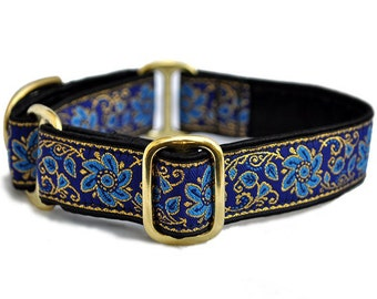 martingale collar or buckle dog collar sevilla jacquard in blue u0026 gold 1 inch