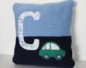 Crochet Pillow Light Blue/Navy/White Car, Initial, Petite Nursery Pillow, 10 x 10