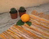 Handwoven rug Orange - Table runner rustic - Valentine's day gift - Boho - Eco friendly