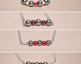 Glass Pearl Bar Necklace, Faux Pearl Necklace, Layering Necklace