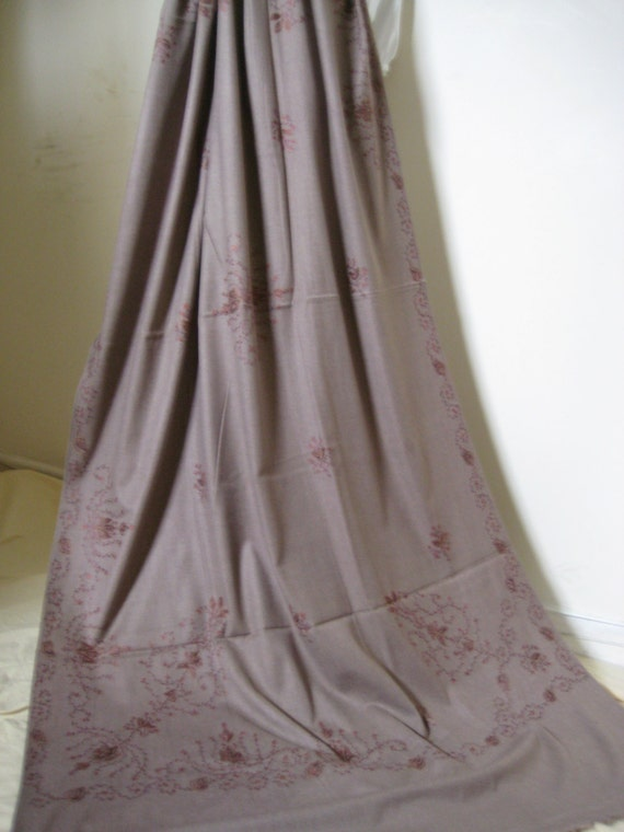 Kashmir Wool Shawl/Stole. Regency Style. Taupe, Paisley Hand Embroidered