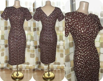 Vintage 50s Dress | 1950s Wiggle Dress | Cocoa Brown Embroidered Linen | Pencil Dress With Unique Bust/Neckline | Size M/L