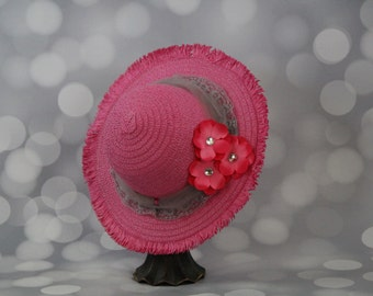 Tea Party Hat; Pink Easter Bonnet with Ribbon; Girls Sun Hat; Pink Easter Hat; Sunday Dress Hat; Derby Hat; 16272