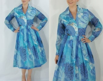 Vintage Sixties Shirtwaist Dress - 1960s Watercolor Crepe Dress - 60s Blue Party Dress - Fit and Flare Dress - Medium