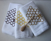 Set of Three Honeycomb with honey bee kitchen towels and honey dipper.  Set of three in golden, yellow and brown