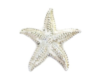 white metal starfish brooch, sea star, large, vintage, ocean, beach wedding, bridal bouquet, nautical