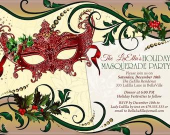 Holiday Masquerade Party, Masquerade Invitation, Christmas Masquerade