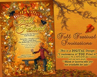 Autumn Birthday Invitation, Fall Party Invitation, Fall Festival Autumn Garden Party, Fall Pumpkin Invitation