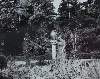 Vintage French Photograph - Woman in a Garden