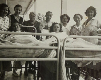 1950's Photo - People Stood by Patients in Hospital Beds, St.Vital, Savoie, France
