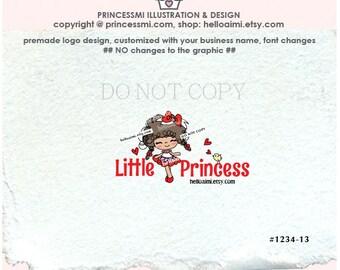 1234-13  african american girl logo, girl business logo, doll logo design, boutique logo, watermark