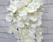 White real touch orchid cascade wedding bouquet brides bouquet
